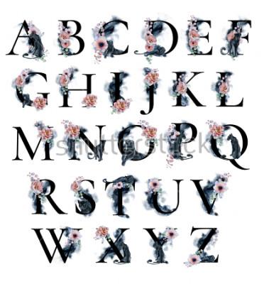 Obraz Akwarela alfabet z plamy tła piwonie Zawilec kwiaty i czarne pantery. Romantyczny kwiatowy czcionki. Zestaw liter wyciągnąć rękę. Monogram projektu