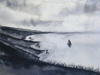 Obraz akwarela atrament krajobraz wędkarstwo żaglowiec i wyspa z mgły góry klifu. tradycyjny orientalny. styl sztuki azjatyckiej
