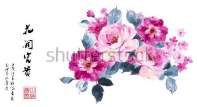 Obraz akwarela atrament porcelanowy Kwitnące kwiaty