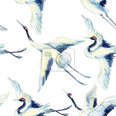 Akwarela azjatyckiego Żuraw ptak szwu wzór
