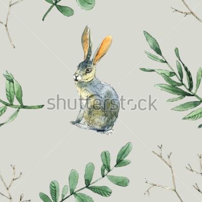 Obraz Akwarela bez wzoru wzoru z królików, liści i gałęzi będzie dobry do pakowania prezentów, projektowania pudełek, kart i kart z pozdrowieniami tła i itp.