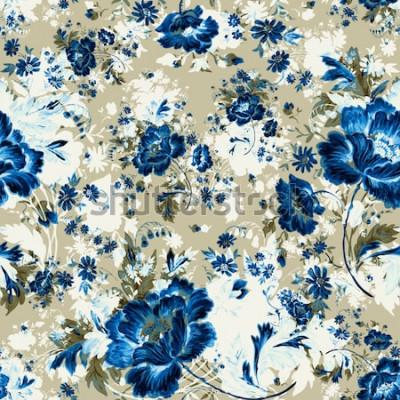 Obraz Akwarela bezszwowe delikatne kwiaty wzór z pąkami i liśćmi, rysowane na papierze z farbami. Doskonały nadruk do Twojego projektu i wystroju.