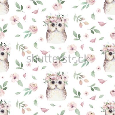 Obraz Akwarela bezszwowe strony ilustrowany kwiatowy wzór z kwiatowy liść, różowe kwiaty i mała sowa dziecka. Akwareli boho wiosny tapety tła botaniczna tkanina