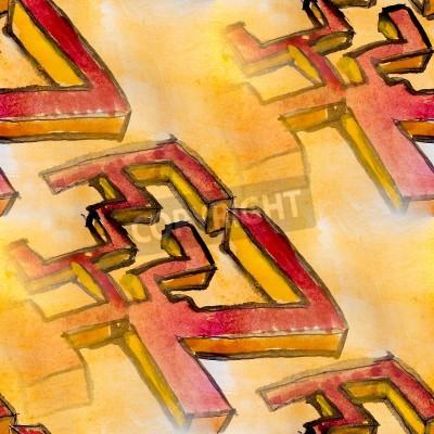 Obraz akwarela bezszwowe tło żółty czerwony kubizm