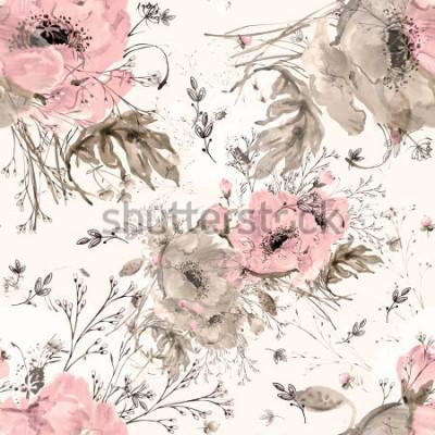 Obraz Akwarela bezszwowe wzór dzikich maków i trawy Y