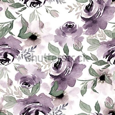 Obraz Akwarela bezszwowe wzór. Vintage kwiatowy druk na tapetę, płótno