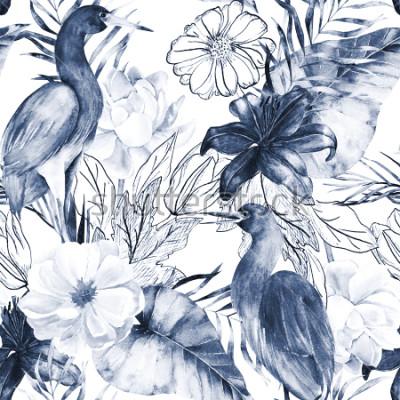 Obraz Akwarela bezszwowe wzór z elementami atramentu. Żuraw egzotyczny ptak i kwiaty. Ręcznie rysowane akwarela ilustracja