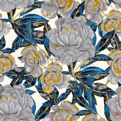 Obraz Akwarela bezszwowe wzór z piwonie. Kwiatowy wzór. Romantyczny ślub tło. Jasny letni wzór. Tapeta botaniczna.