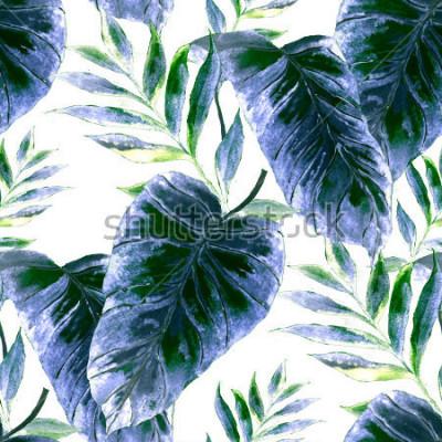 Obraz Akwarela bezszwowe wzór z tropikalny liści: palmy, monstera, marakuja. Piękny nadruk allover z ręcznie rysowanymi egzotycznymi roślinami. Projektowanie botaniczne strojów kąpielowych.
