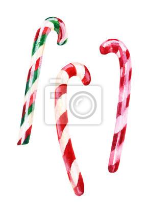 akwarela candy cane wyizolowanych na białym