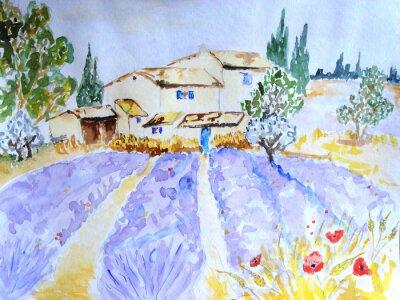 Obraz akwarela d'un champ de lavande