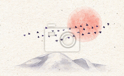 Akwarela góry, ptaki i księżyc