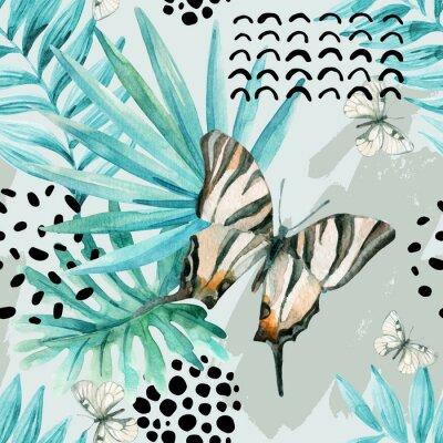 Akwarela graficzny ilustracji: egzotyczny motyl, liści tropikalnych, elementów doodle na tle grunge.