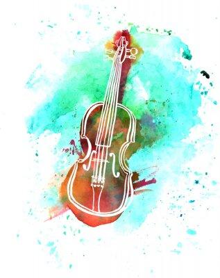 Obraz Akwarela grunge skrzypce rysunek z copyspace