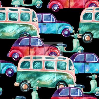 Akwarela hippie samochód kempingowy, samochód i skuter