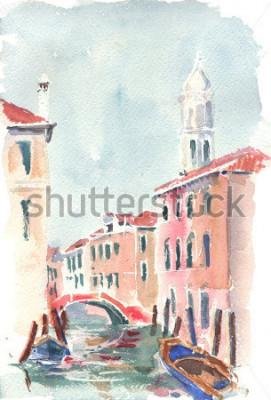 Obraz Akwarela ilustracja weneckiego kanału