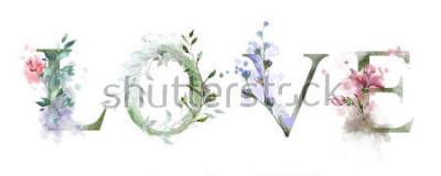 Obraz akwarela ilustracja z dzikich kwiatów, zioła - miłość. Fajny nadruk na koszulce. Zabytkowe. Literowanie