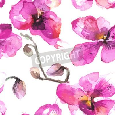 Obraz Akwarela ilustrowane kwiaty orchidei bezszwowe tło