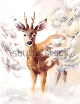Obraz Akwarela jelenia ręcznie malowane zimowe sceny ilustracja