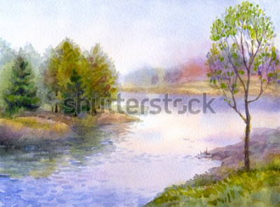 Obraz Akwarela krajobraz. Młode drzewo na brzegu spokojnej rzeki