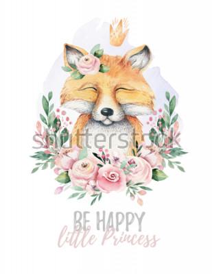 Obraz Akwarela kreskówka na białym tle słodkie dziecko Lis zwierząt z kwiatami. Ilustracja leśnych szkółek leśnych. Rysunek boho czeski dla plakatu przedszkola, wzory