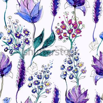 Obraz Akwarela kwiatowy wzór z fioletowe kwiaty. Ręcznie malowane kwiaty w tle. Papier cyfrowy.