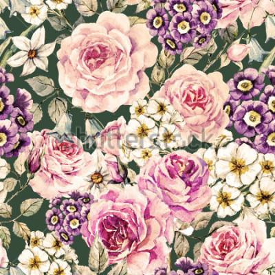 Obraz akwarela kwiatowy wzór z róży, pierwiosnka, dzwonek. Kwiatowy wzór