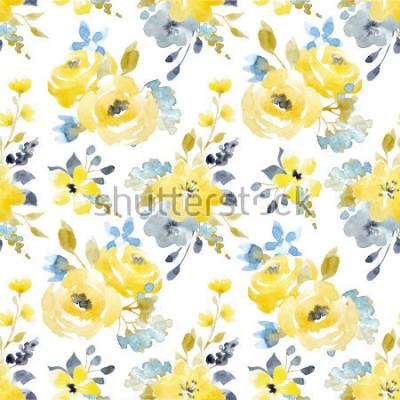 Obraz Akwarela lata jaskrawy deseniowy żółty i błękitny abstrakcjonistyczni kwiaty