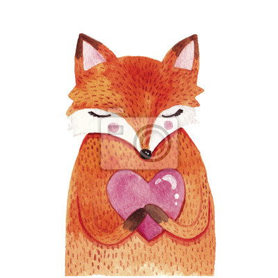 Obraz Akwarela Lis cute z sercem