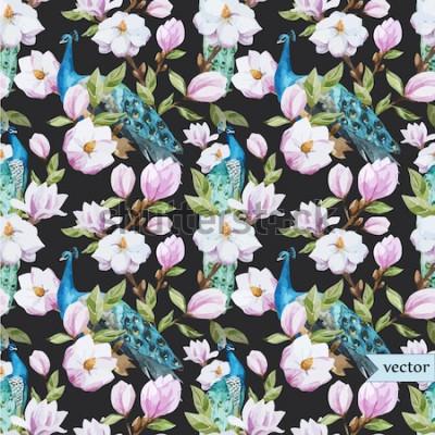 Obraz akwarela, magnolia, kwiat, wzór pawia