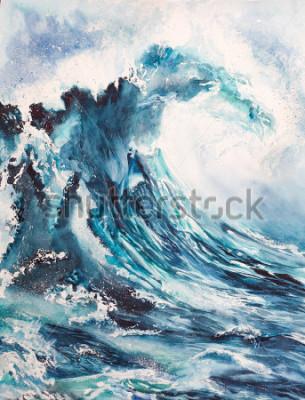 Obraz akwarela malarstwo morze fala