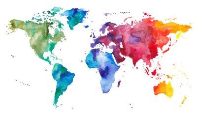 Obraz Akwarela Mapa świata