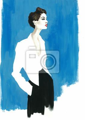 Obraz akwarela mody piękna dziewczyna