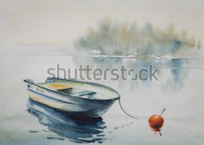 Obraz Akwarela obraz krajobraz z drewnianą łodzią na rzece, zakrywającej z mgłą.