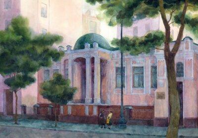 Obraz Akwarela pejzaż. Piękny dom na różowy Shady Lane