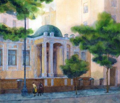 Obraz Akwarela pejzaż. Piękny żółty dom na zacienionym pasa