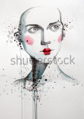 Obraz akwarela portret piękna kobiety | ręcznie | self made | obraz