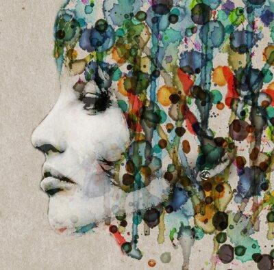Obraz Akwarela profil kobiety