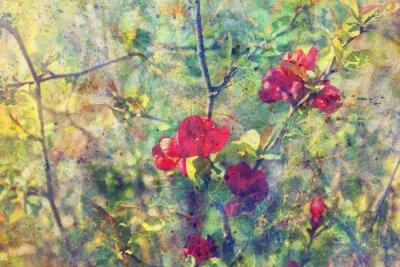 Obraz akwarela splatter grunge niechlujny i gałązki z czerwonymi kwiatami