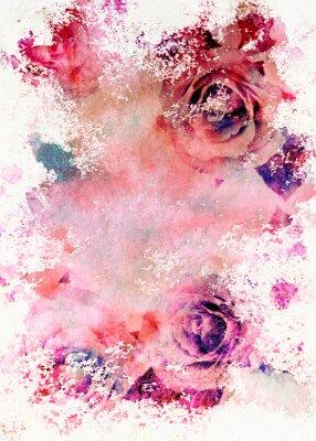 Obraz Akwarela stonowanych róże kartkę z życzeniami