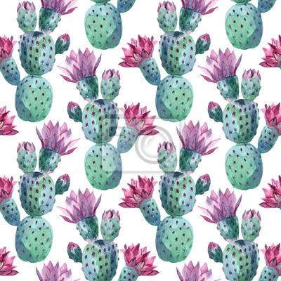 Akwarela szwu wzór kaktus