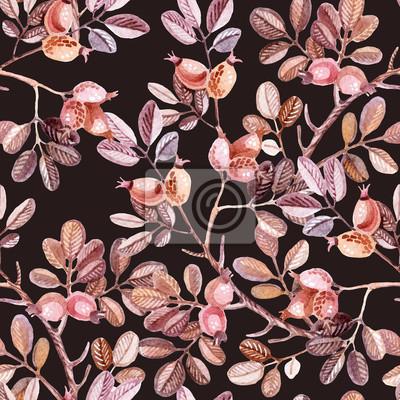 Akwarela szwu z gałęzi dzikiej róży