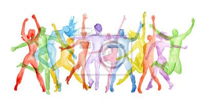 Obraz Akwarela tańca ustawić na białym tle. pozy taneczne. Zdrowy styl życia, uzyskiwanie energii.