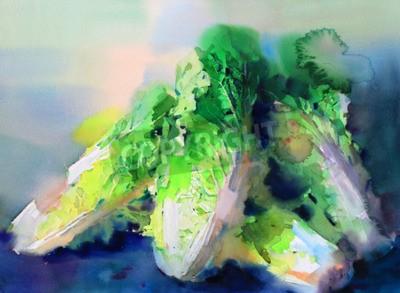 Obraz akwarela warzyw kapusta pekińska wyciągnąć rękę malarstwo na papierze