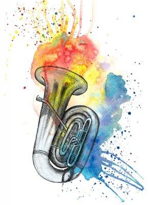 Obraz Akwarela wielokolorowe plamy plamy z szkic ołówkiem instrument muzyczny tuba, muzyka jazzowa