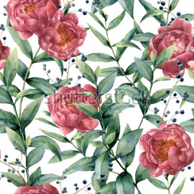Obraz Akwarela wzór z eukaliptusa, piwonii i jagód. Wręcza malować kwieciste gałąź z liśćmi, kwiaty odizolowywający na białym tle. Natura botaniczna ilustracja dla projekta lub druku