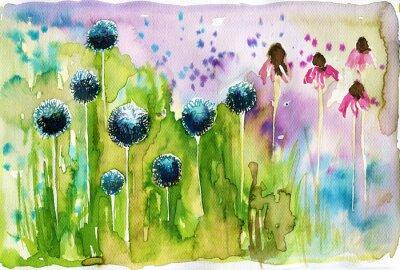 Obraz Akwarele ilustracji przedstawiających wiosenne kwiaty na łące