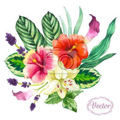 Akwarele ilustracji wektorowych z kwiatów.
