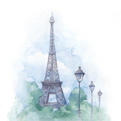 Obraz Akwarele ilustracji z wieży Eiffla