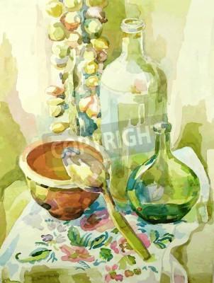 Obraz Akwarele ręcznie kuchnia martwa natura z doniczki, butelki, łyżka i dziobu
